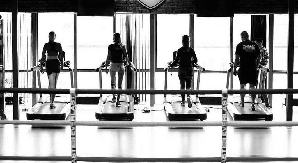 Ludzie trenujący na bieżniach w siłowni