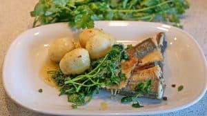 ryba na talerzu z warzywami