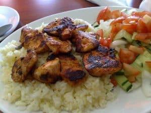 pieczony kurczak z ryżem i warzywami