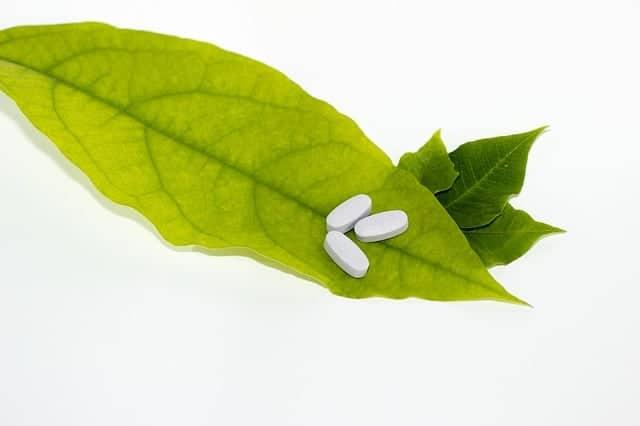 tabletki na zielonym liściu