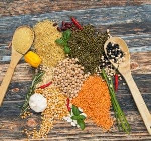ziarna zbóż i roślin strączkowych